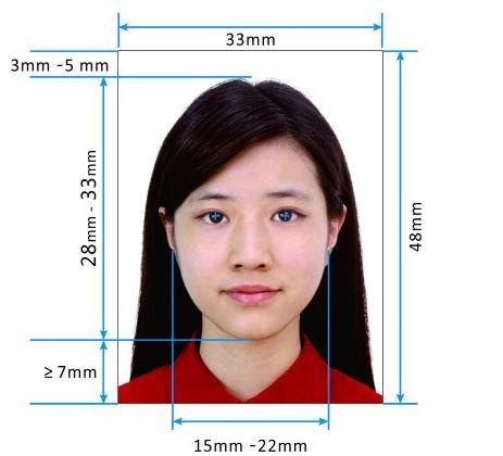 фото на визу в китай 2017 33мм * 48мм